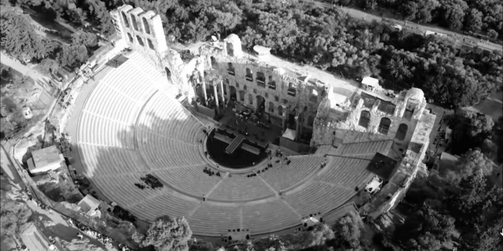 odeon Herodes Atticus aerial view athens