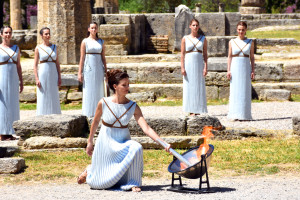 Olympic flame at ancient olympia why athens