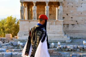 Evzone Caryatids Acropolis Athens