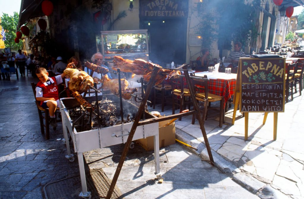 Greek orthodox Easter Athens Greece Plaka Lamb
