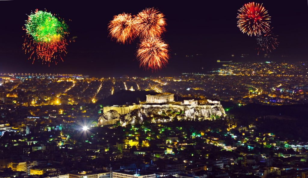 Greek Orthodox Easter Athens Greece Fireworks Lycabettus