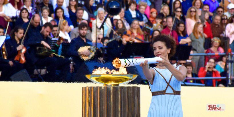 Olympic Flame Torch Lighting Ceremony Panathenaic Stadium Athens