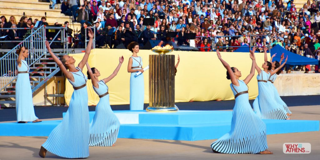 Olympic Flame Torch Lighting Ceremony Panathenaic Stadium Athens I & Olympic Flame Handover Ceremony - Panathenaic Stadium | Why Athens azcodes.com