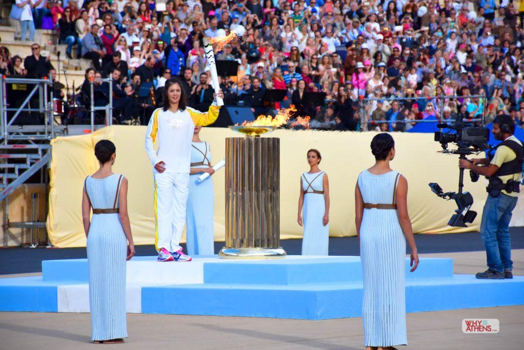 Olympic Flame Torch Handover Panathenaic Stadium Athens