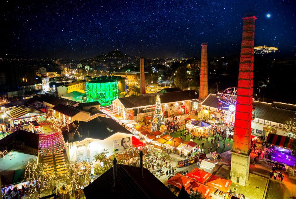 Christmas Factory Athens Technopolis Aerial
