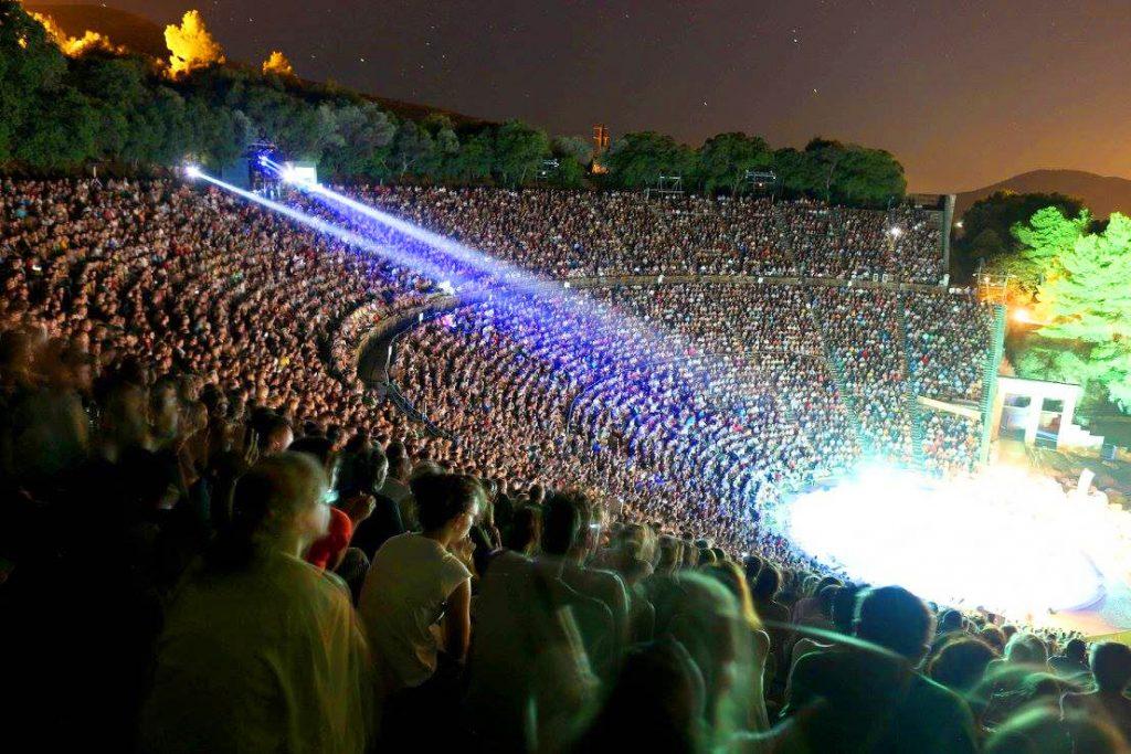 Epidaurus Theatre Athens Festival Crowds IV