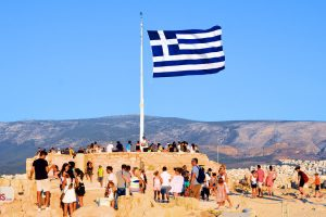 Photo Stories Athens Greek Flag belvedere Acropolis