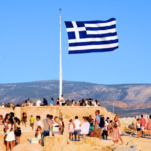 Photo Stories Athens Greek Flag belvedere Acropolis