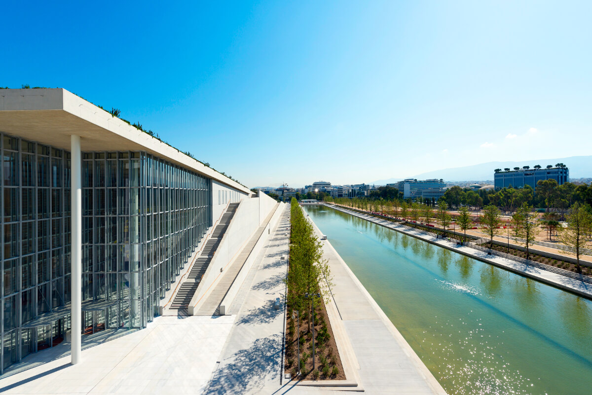 Stavros Niarchos Center Athens Canal Shot