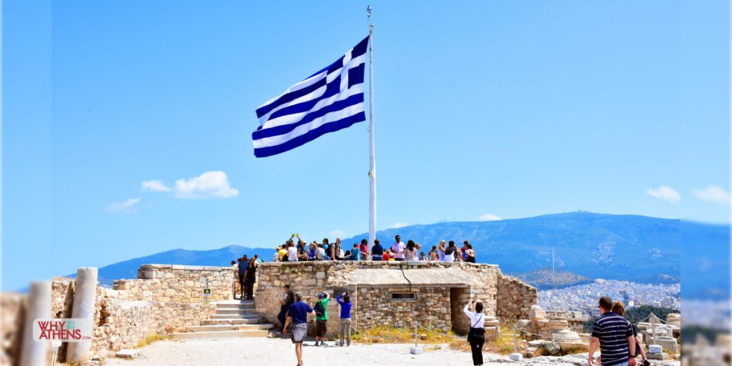 Photo Stories Athens Greece Belvedere Greek Flag