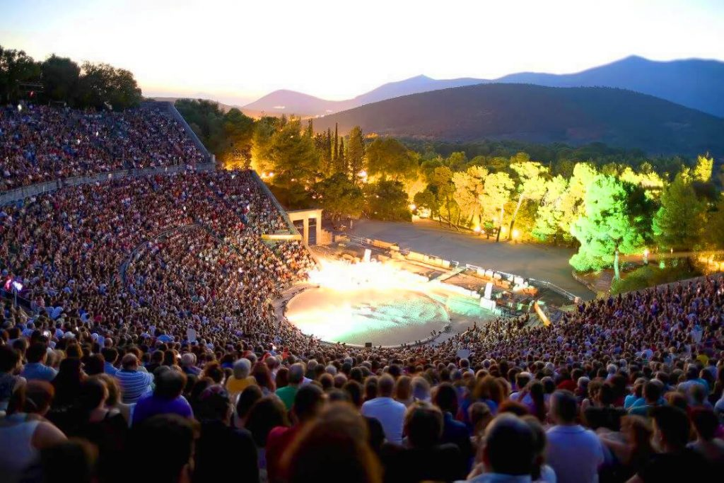 Epidaurus Theatre Athens Festival Crowds Tickets