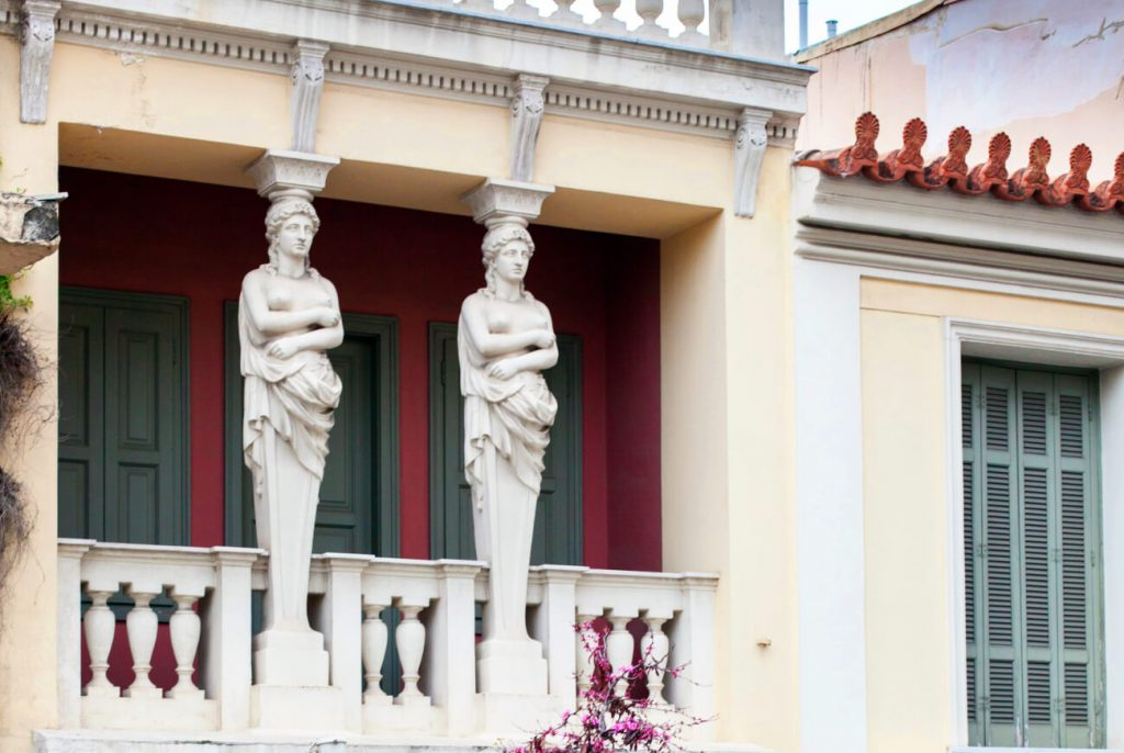 Neoclassical Buildings Athens Caryatids House