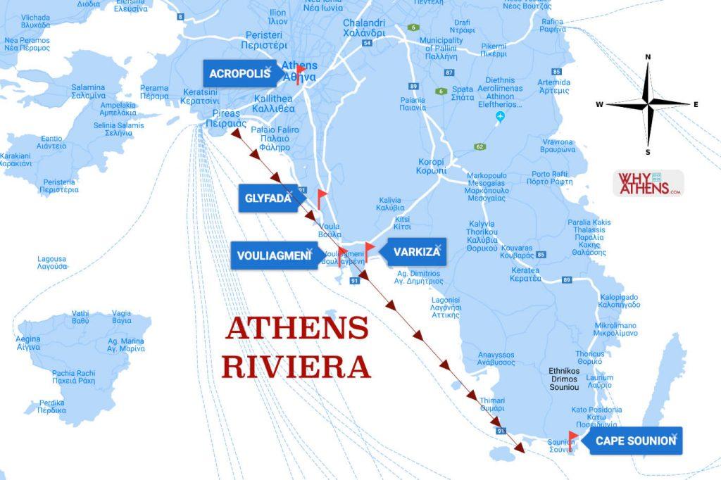 Athens Riviera Vouliagmeni Coast Map
